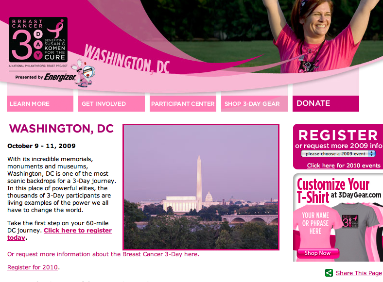 Susan G Komen 3 Day Walk - Washington DC - Oct 9th